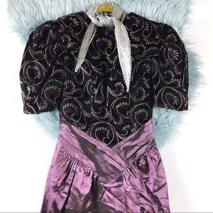 Vtg 80s Velvet Abstract Print Cocktail Dress SM